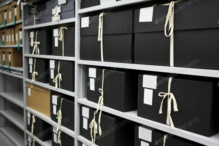 Close up of archives and storage in a closet