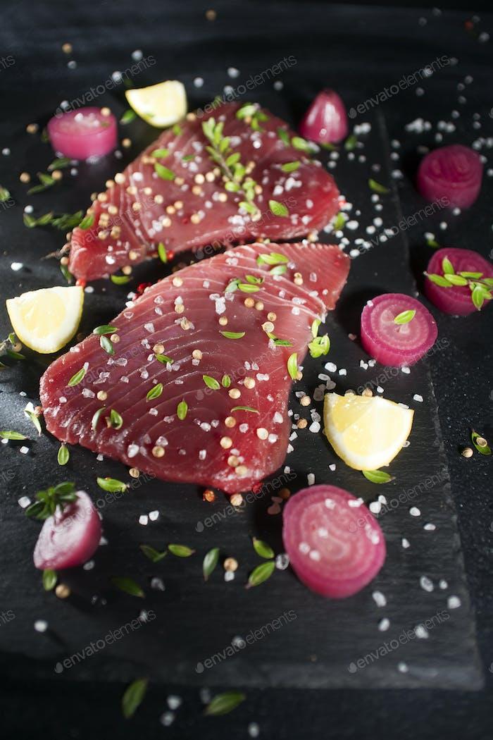 Fresh tuna slice