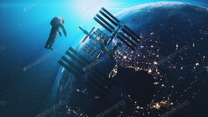 ISS Astronaut im äußeren Kosmos Erde Hintergrund