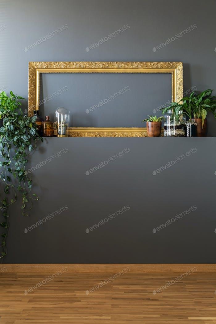 Empty frame on shelf