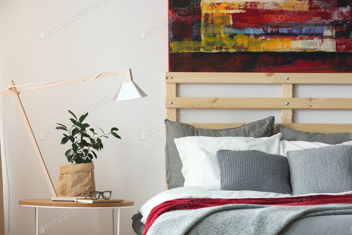 Grey and red decor