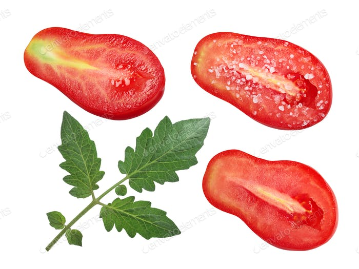 Pear-shaped halved tomatoes