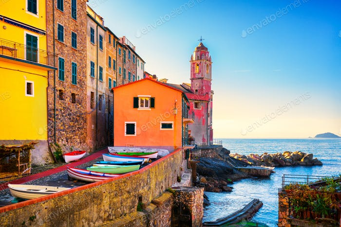 Tellaro sea village street, church and boats. Cinque terre, Ligu