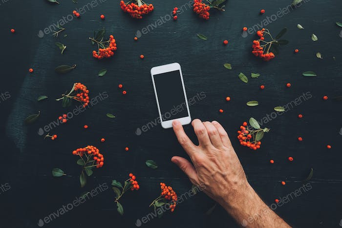 Flat lay hand using smartphone screen mock up