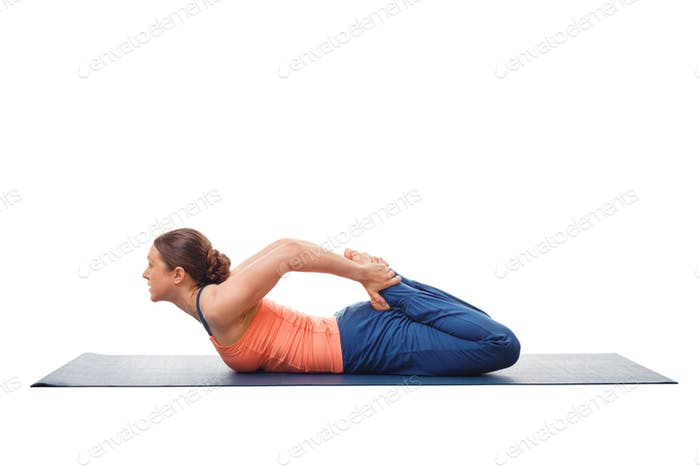 Woman doing Hatha Yoga asana Bhekasana