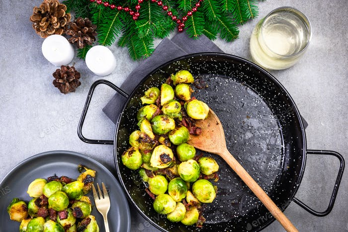 Roasted Brussels Sprouts. Regional Christmas and Festive Food