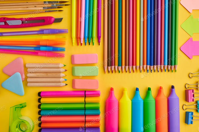 Office stationery supplies, yellow background