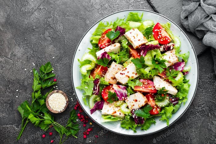 Meat salad with fresh vegetables