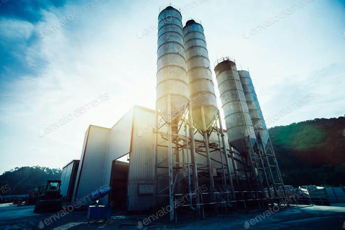 Exterior view of a cement factory