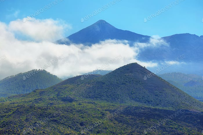 Far view of Teide volcano from Masca road in Tenerife island, Spain