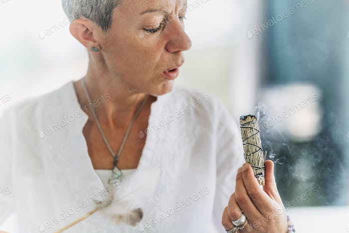 Smudging or Space Cleansing - Burning Sage to Bless and Cleanse Out the Negative Energy