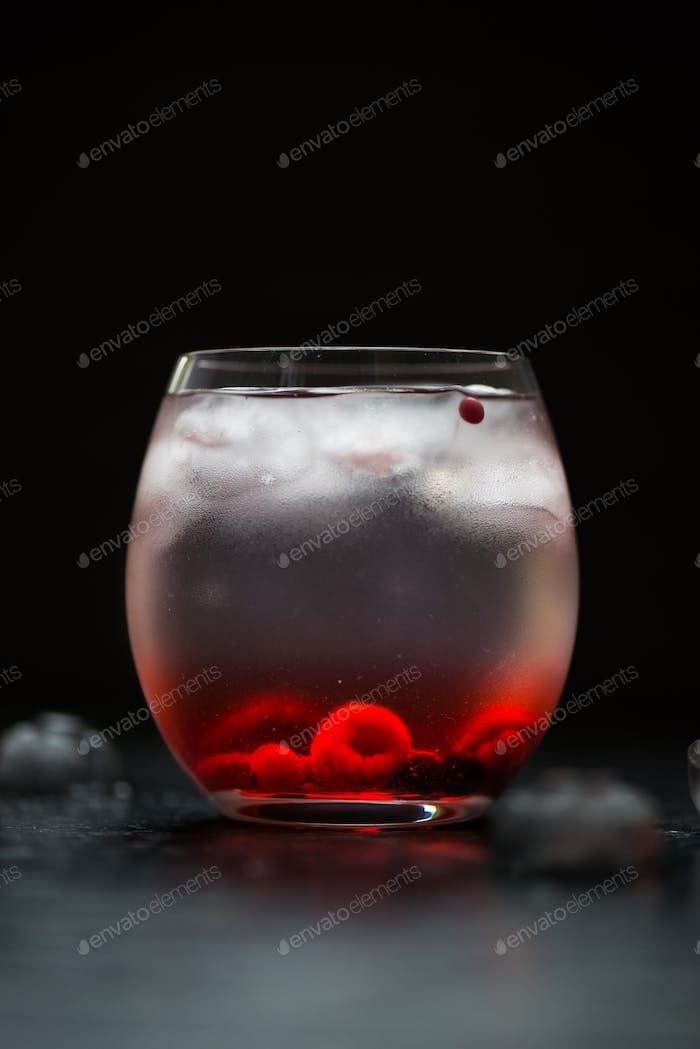 Cold Water Drink with Berries and Ice