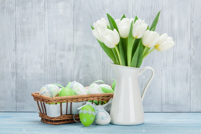 Easter eggs and tulips bouquet