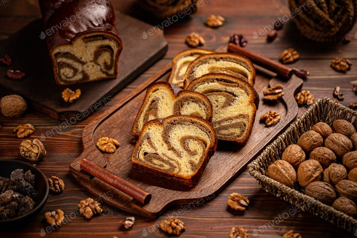 Sweet braided bread loaf
