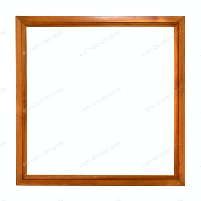 Square wooden picture frame on white background