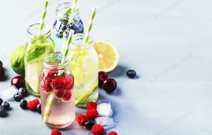 Berry, fruit and citrus non-alcoholic refreshing ice cold beverages