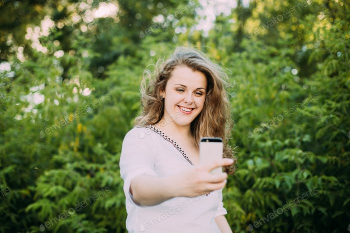 Young Beautiful Pretty Plus Size Caucasian Girl Woman Dressed In