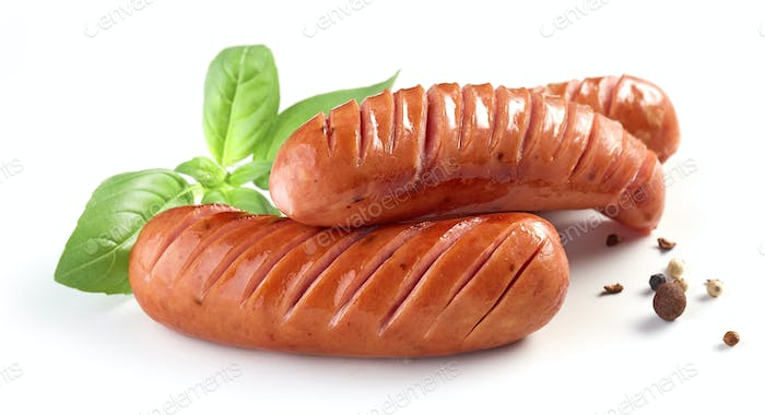 grilled sausages on white background