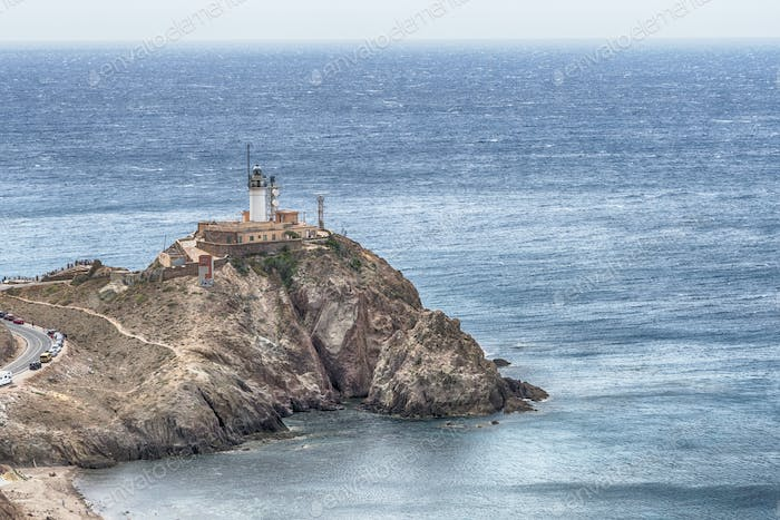 Cabo de Gata lighthouse aerial in Almeria, Andalusia, Mediterranean sea of Spain