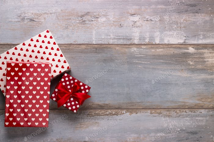 Gift boxes with ribbons and