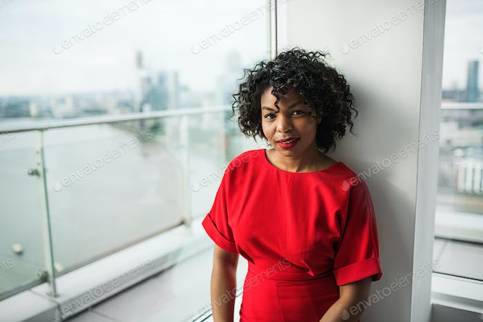 A portrait of woman standing by the window against London view panorama.