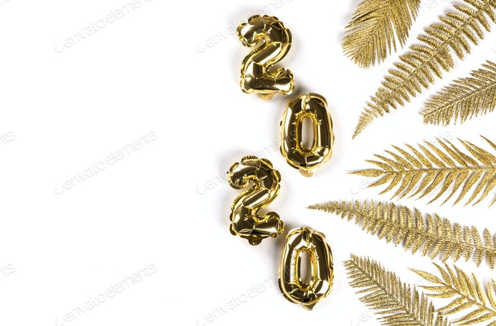 Neujahr Flat Lay Zusammensetzung.Folienballons 2020.