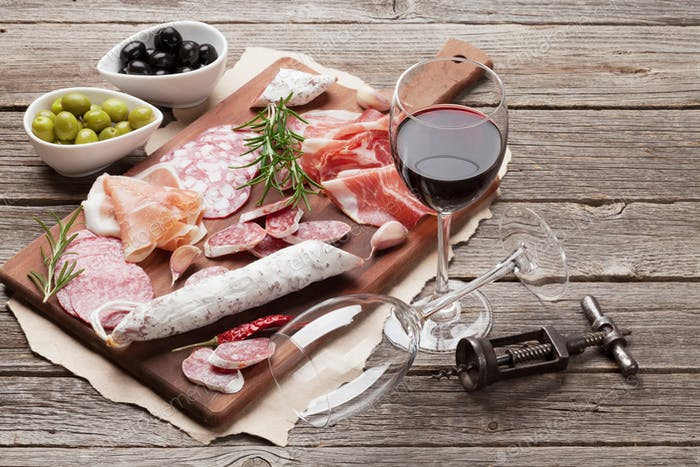 Thumbnail for Salami, ham, sausage, prosciutto and wine