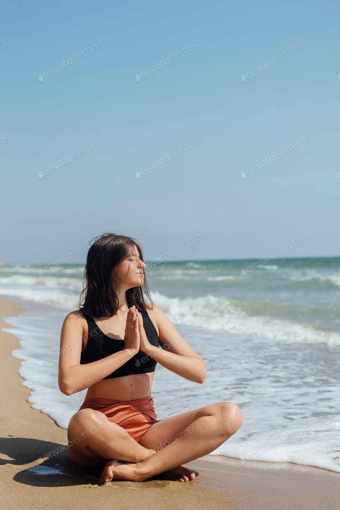 Yoga and meditation on beach