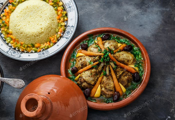 Chicken tajine with couscous and salad, morrocan cuisine
