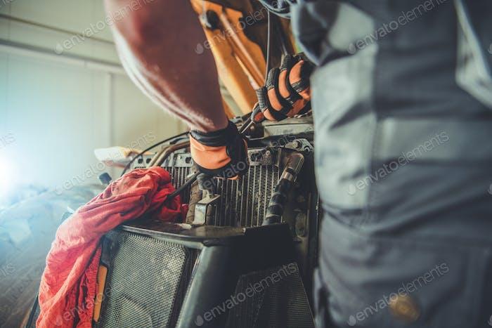 Bulldozer Repair in a Service