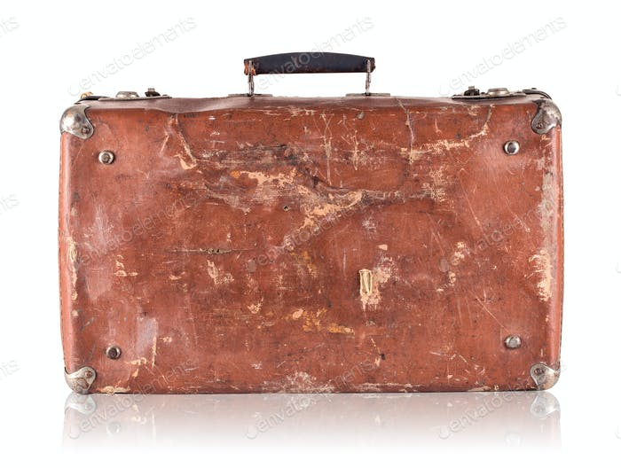 Old cracked  suitcase