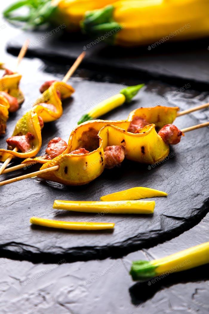 Zucchini and chicken kebab