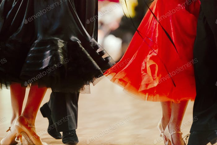 two pairs dancers