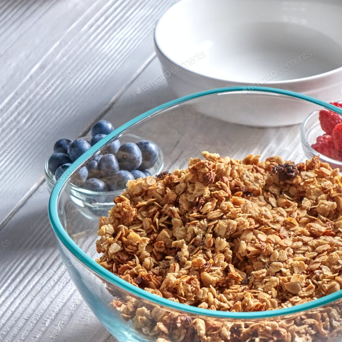 Organic homemade Granola Cereal with oats and fresh berries. Texture oatmeal granola or muesli in