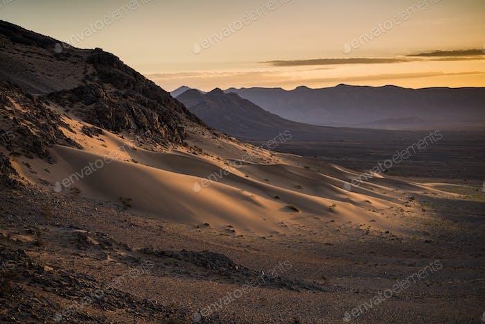 Sunrise in Sahara desert.