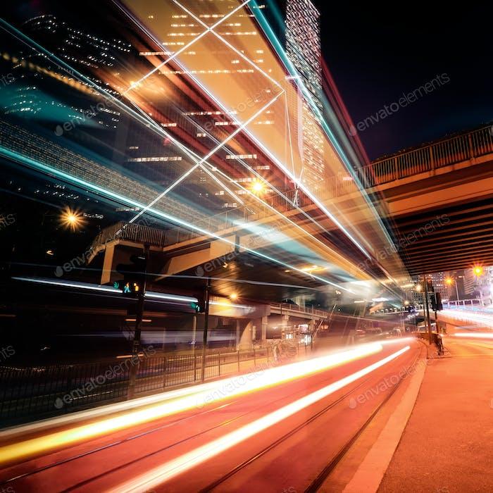 Vista  Futurista del paisaje urbano Noche. Hong Kong