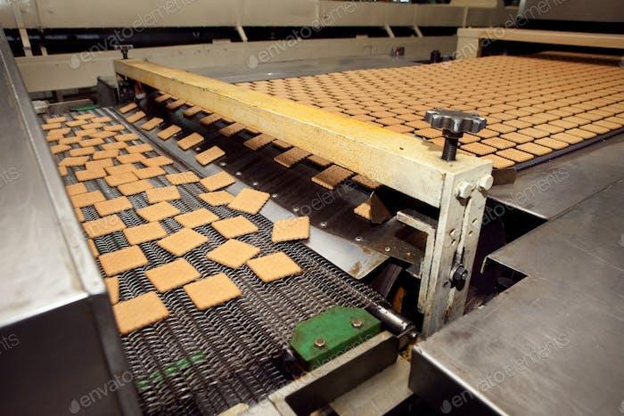 máquina de hacer galletas en la fábrica