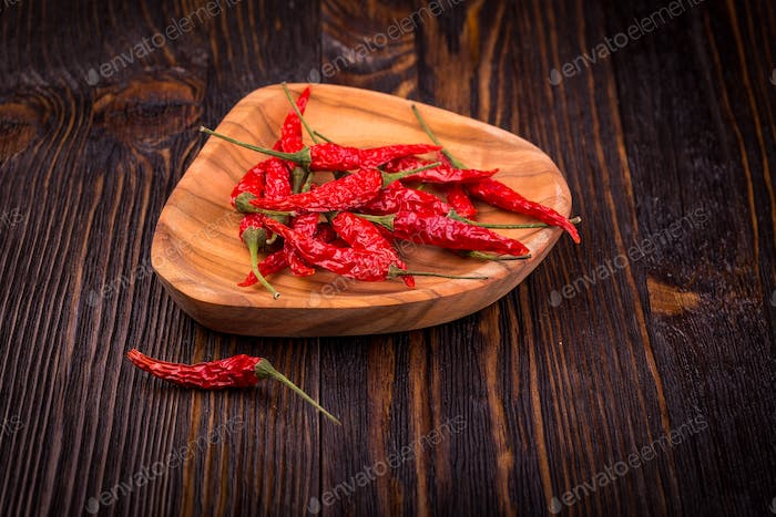 Dry red hot chili peppers