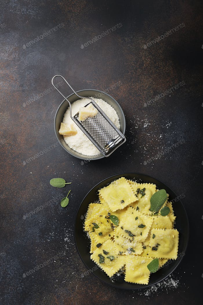 traditional Italian ravioli with butter, sage and cheese