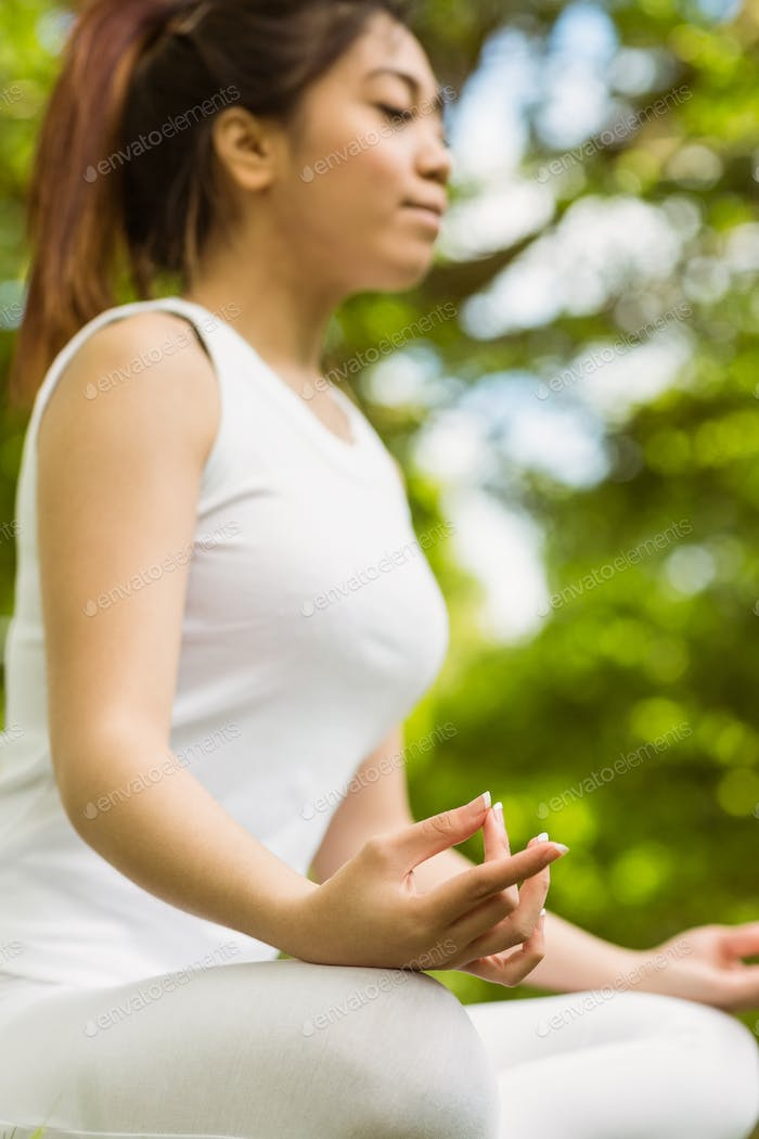 Side view of healthy and beautiful young woman sitting in lotus pose at park