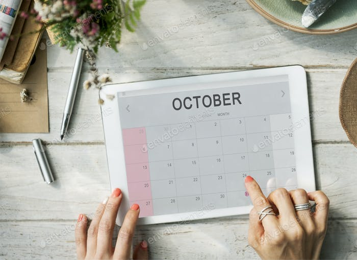 October Monthly Calendar Weekly Date Concept