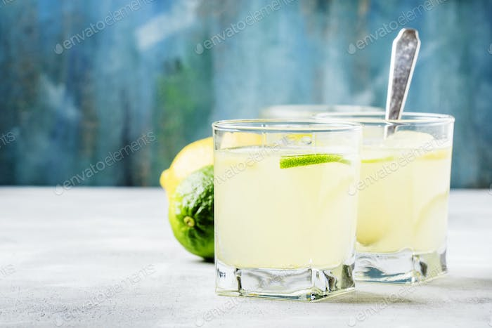 Jelly with lemon and lime in a glass