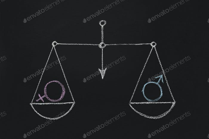 Drawn scales with male and female gender symbols