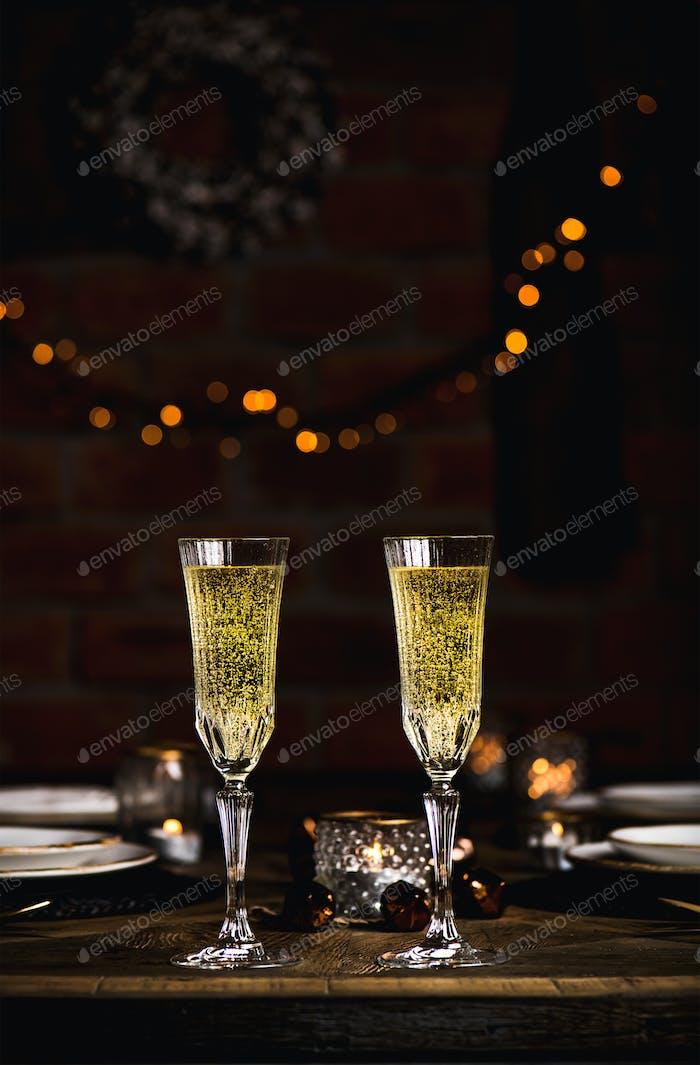 Weihnachten oder Silvester Tischset mit Champagner