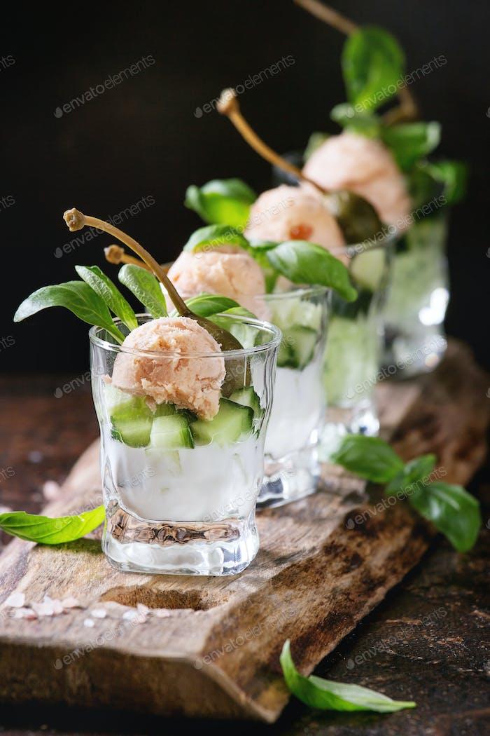 Verrines with salmon pate