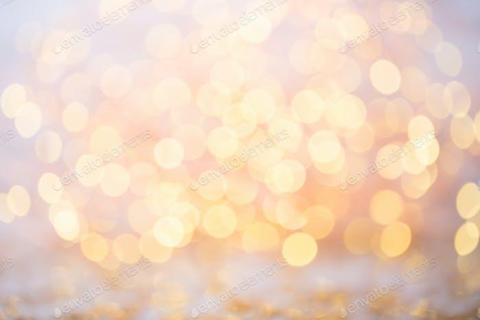 Abstraktes Gold Bokeh. Weihnachten und Neujahr Thema Hintergrund.