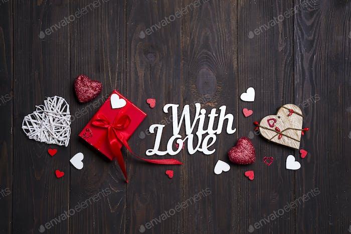 Glückliche Valentinstagskarte. Bordüre Design.