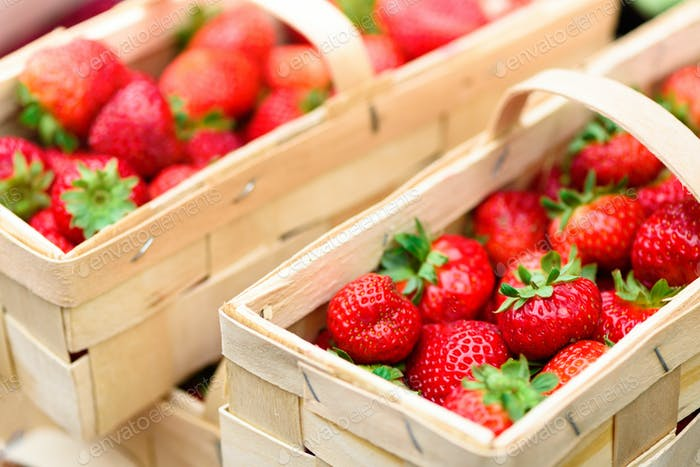 Handcrafted baskets with fresh strawberries