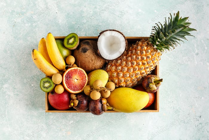 A box of fresh Thai fruit