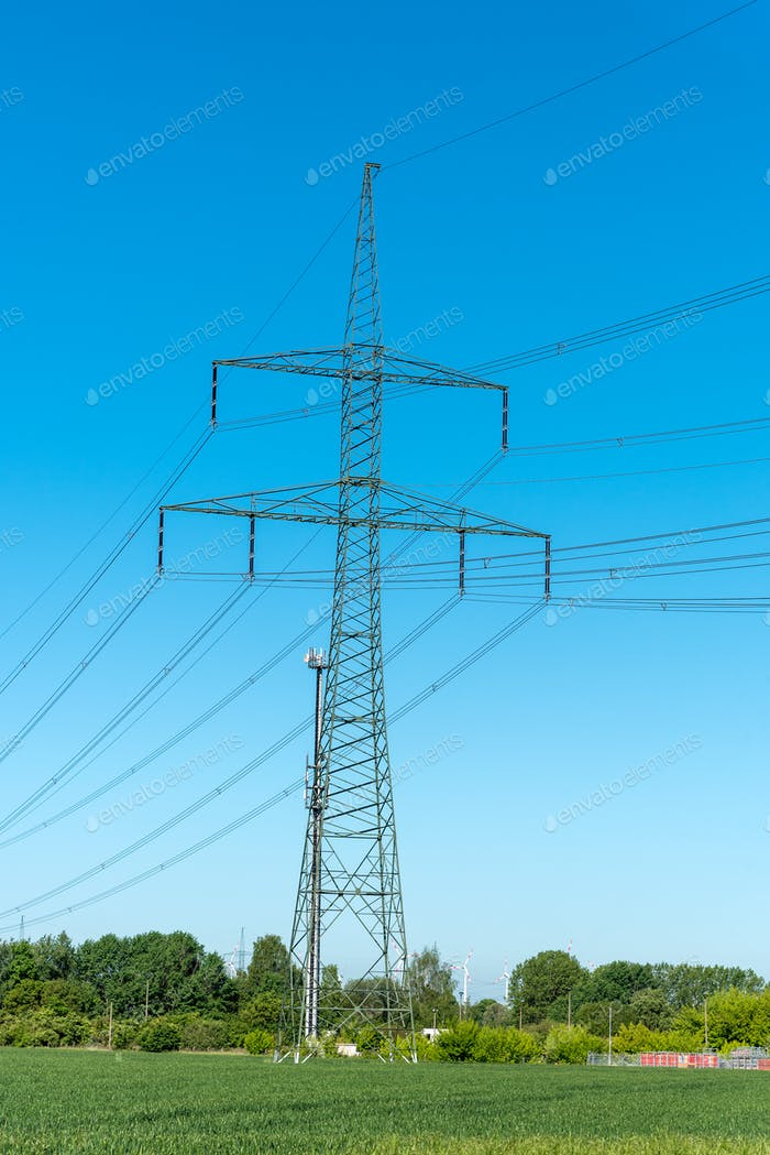 Power supply lines and electric pylons
